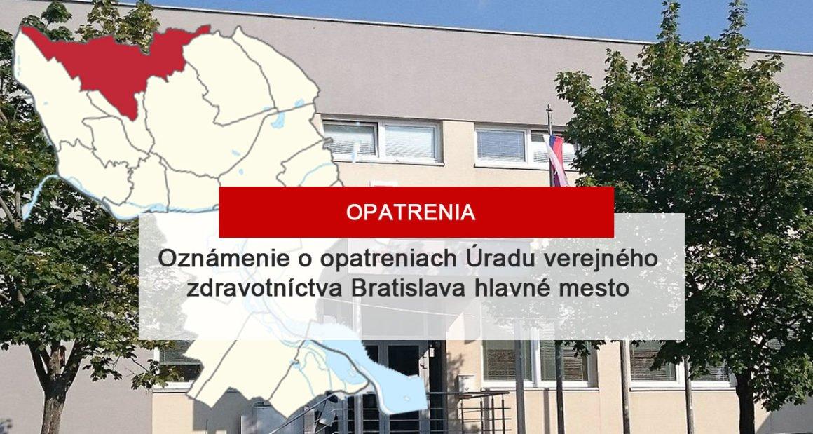 Oznámenie o opatreniach Úradu verejného zdravotníctva Bratislava hlavné mesto